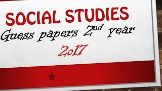 Pakistan Studies 2nd year very important guess papers 2017