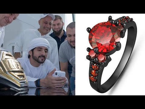 Fazza Lovely For Red Diamond  Ring | Black Gold Filled Mysterious Ruby Ring