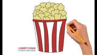 How to Draw a Popcorn Step by Step Easy For Kids