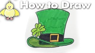 Drawing:How to Draw a Leprechaun Hat Step by Step
