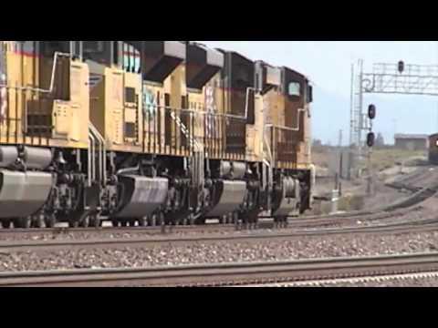 EB UPRR & WB BNSF Manifest Trains Meet @ Daggett CA.m4v