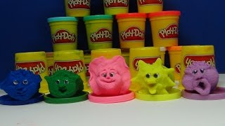 Play Doh Monster Faces.  Blue, Green, Pink, Yellow And Purple Faces