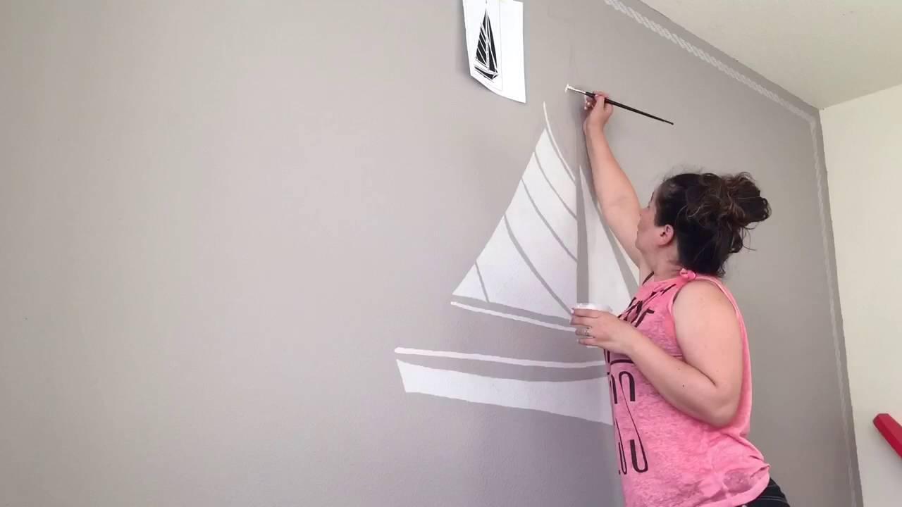 Diy Wall Murals diy wall mural sailing ship - youtube