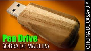 Pen drive com sobra de madeira #DIY #oficinadecasa