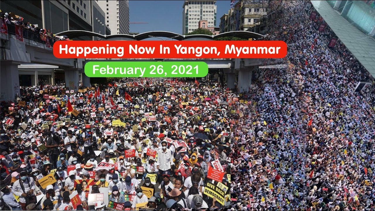 26 February 2021 - Thousands Of People Protest Against Military Coup In Myanmar