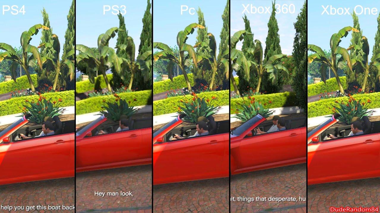 GTA 5 Pc Vs PS4 Vs PS3 Vs Xbox One Vs Xbox 360 Graphics ... Xbox One S Vs Ps4 Slim Graphics