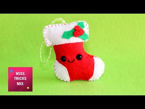 Cute Santa's Boots Felt Christmas Ornament | #3 Kawaii Christmas DIY.