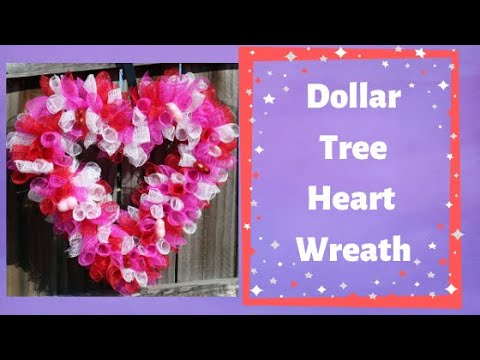 Valentines Wreath with heart shape form can be made with all Dollar Tree Items