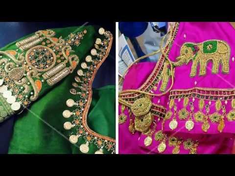 Latest Kasu Work Blouse Designs 2018   Kasu Coin Blouse    Kasu work blouse designs for pattu sarees