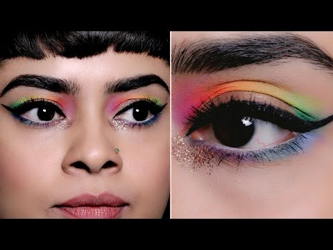 Quick & Easy Rainbow Cut-Crease Eye Makeup Look for New Years Eve 2017 - Glamrs