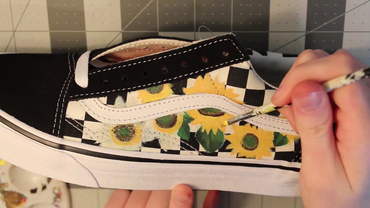 05b801f66326 Custom Sunflower Checkered Old Skool Vans TIMELAPSE - YouTube