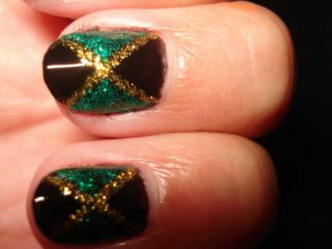 Jamaica Flag Nail Tutorial Typikelly Youtube