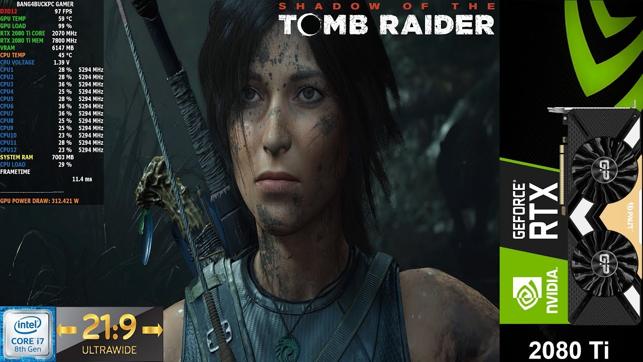 Shadow Of The Tomb Raider Ultra Settings 3440x1440 21:9 | RTX 2080 Ti | i7 8700K 5.3GHz