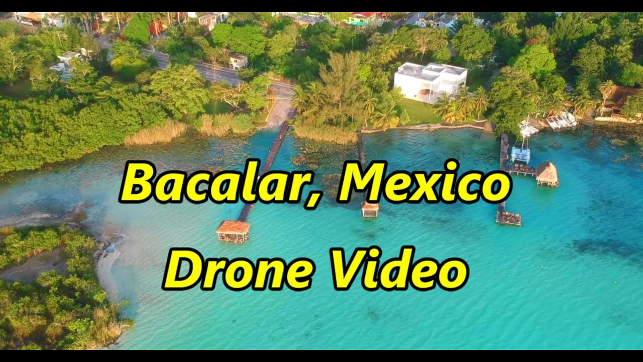 Bacalar, Mexico at Sunrise. Drone Video