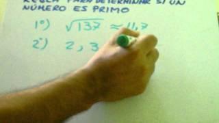 regla para determinar si un numero es primo