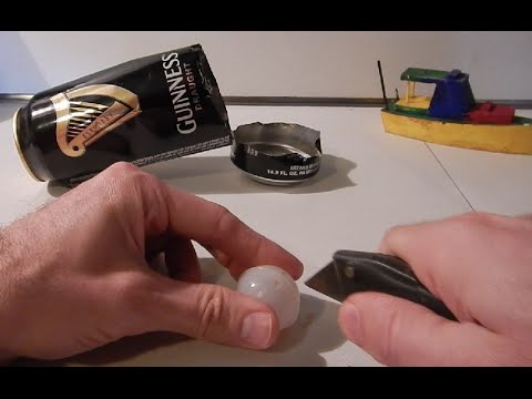 cutting open guinness beer can widget to see inside youtube