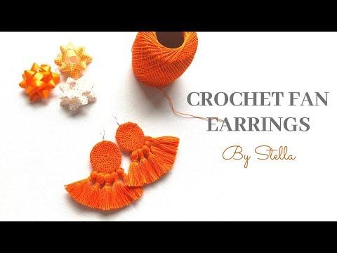 """Crochet easy Boho DIY earrings .The """"FAN"""" earrings   By Stella"""