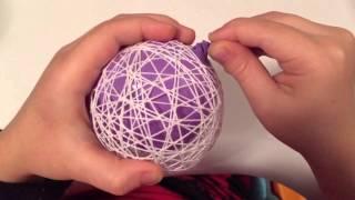 Елочные шарики из ниток и клея ПВА