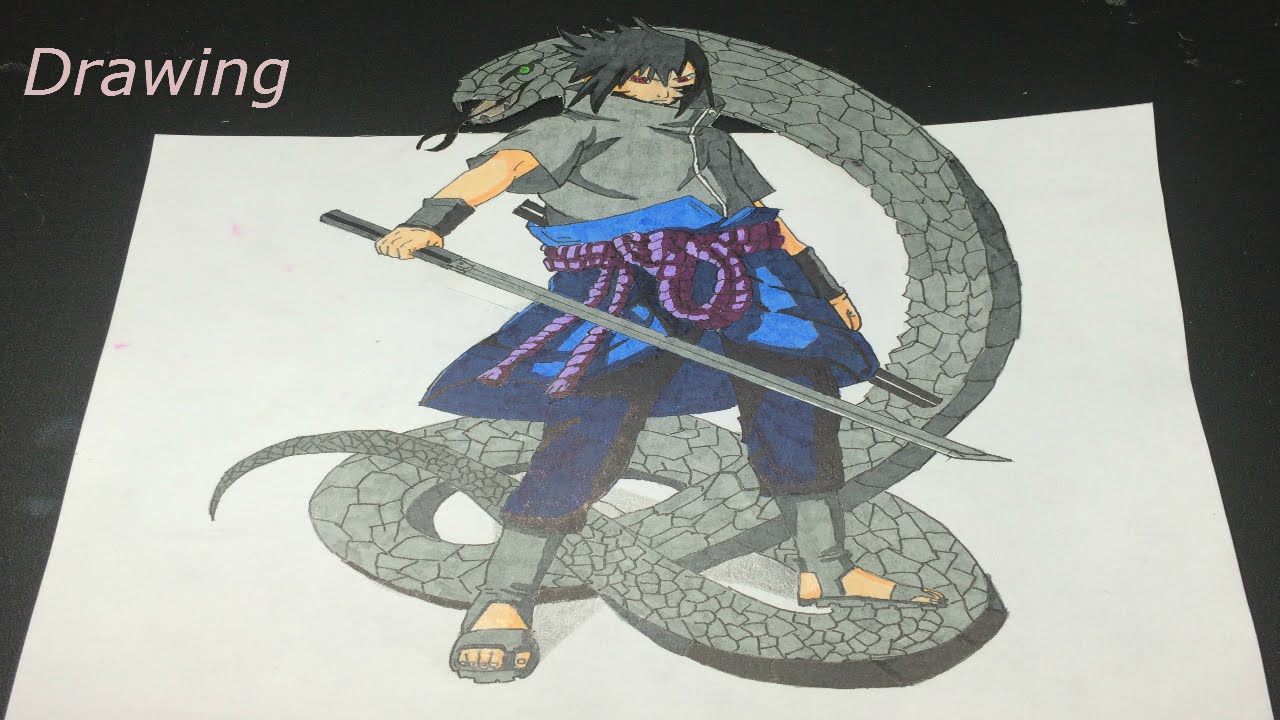 Speed drawing saskue uchiha 3d naruto youtube