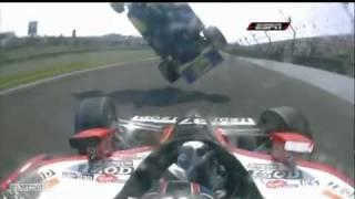 Horrific / Massive Airborne Car Crash into Catchfence - 2010 Indy 500