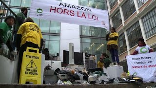 Anti-Black Friday protesters rally at Amazon French HQ