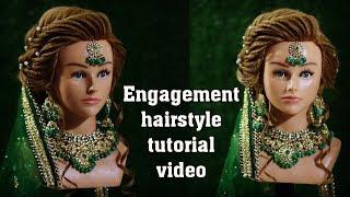 engagement low bun hairstyle || volume khajuri front hairstyle || backcombing puff with mang tikka
