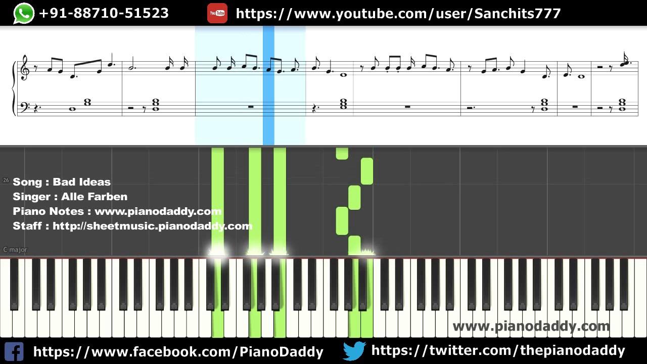 Bad Ideas (Alle Farben) Piano Lesson   Staff Sheet   Midi - YouTube