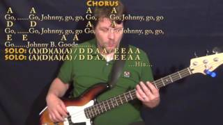 Johnny B. Goode (Chuck Berry) Bass Guitar Cover Lesson in A with Chords/Lyrics