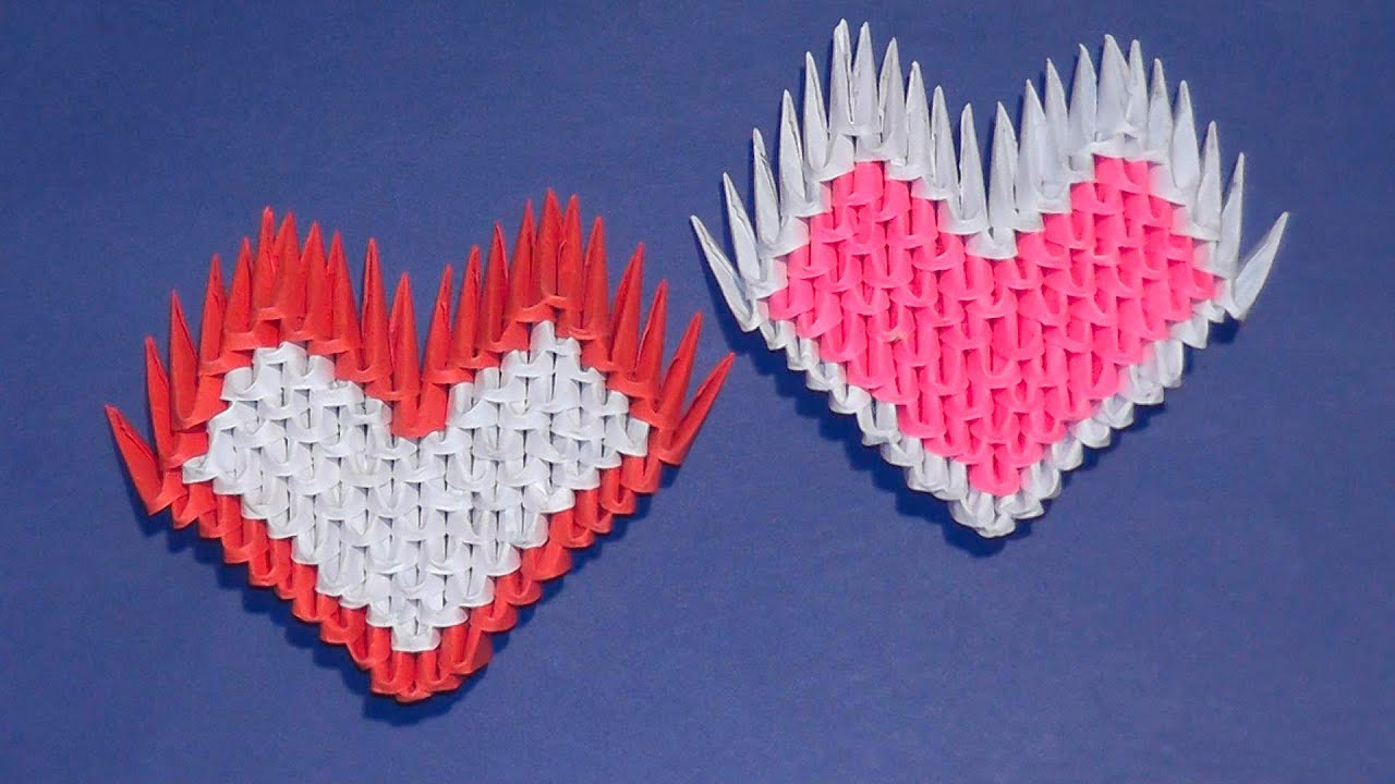 3D origami a heart tutorial for beginners (a gift) - YouTube - photo#44