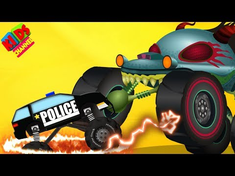 Haunted House Monster Truck vs Police Monster Truck | Halloween Videos by Kids Channel