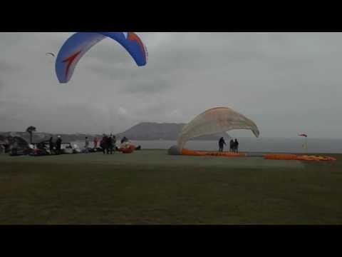 Parachuting in Miraflores district of Lima, Peru.