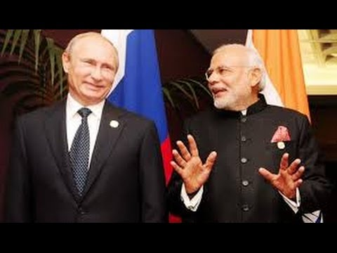 Narendra Modi and Vladimir Putin at Joint Press Briefing at Hyderabad House