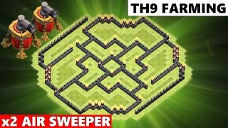 Clash Of Clans | Town Hall 9 Farming Base BEST TH9 Defense | 2 Air Sweepers + Dark Spell Factory