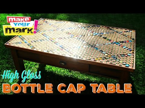 How to: High Gloss Bottle Cap Table DIY