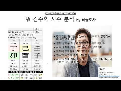 故 김주혁님 사주 분석(하늘도사)