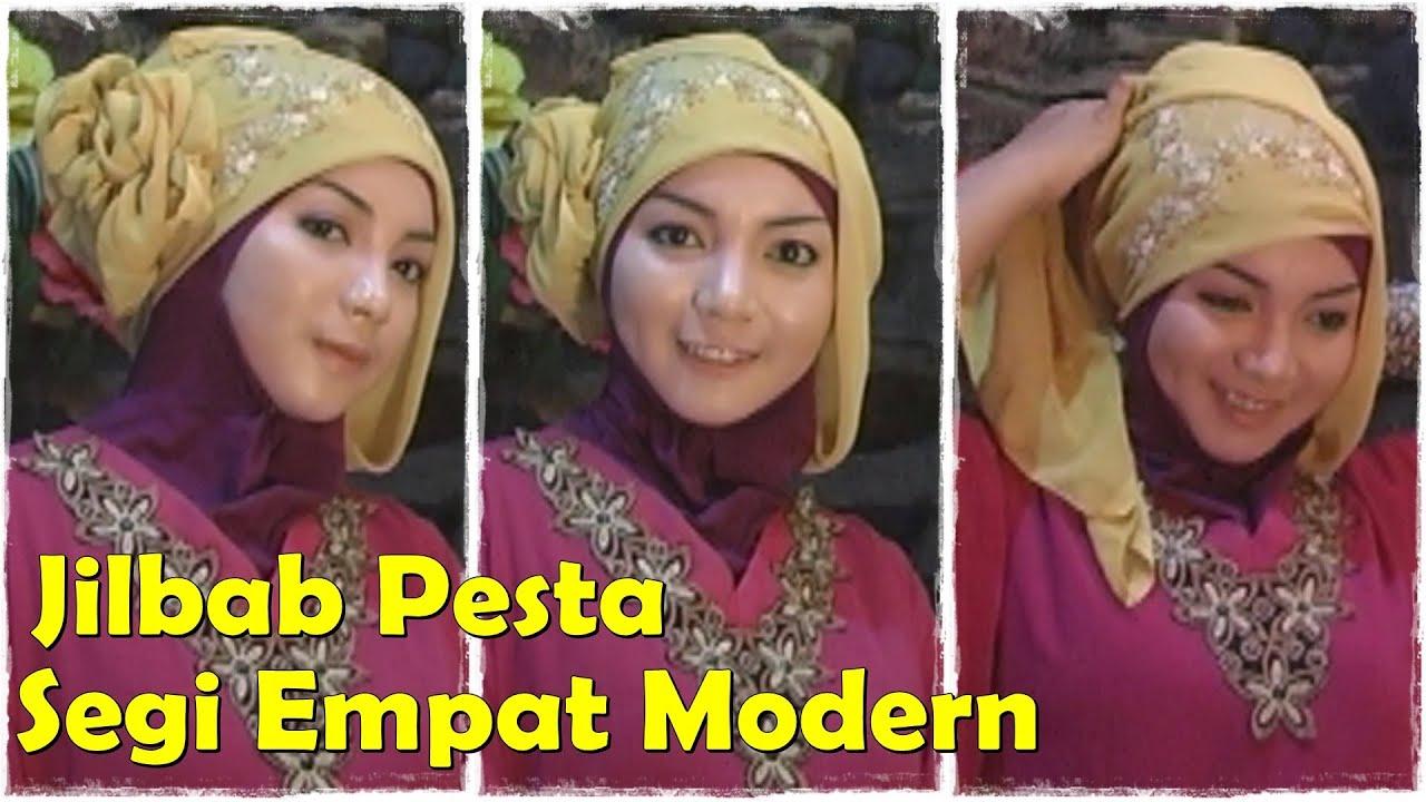 Cara Memakai Jilbab Pesta Segi Empat Modern By Revi YouTube