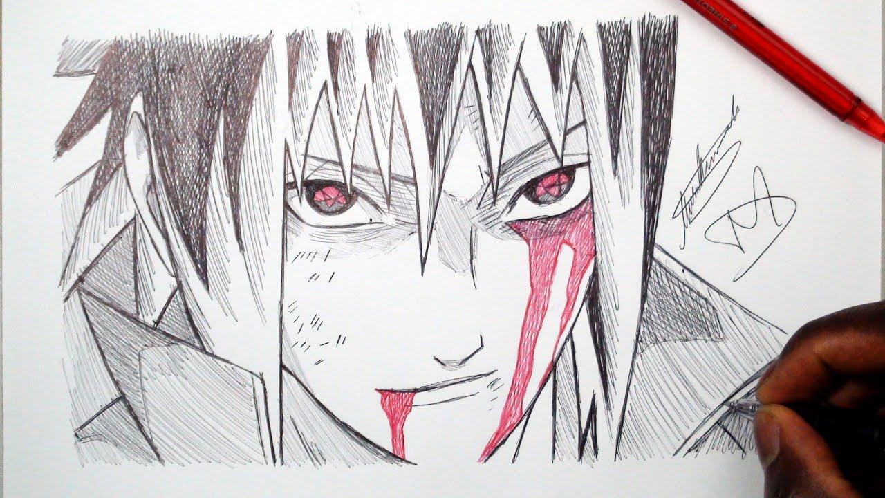 How to draw Sasuke  Step by step Drawing tutorials