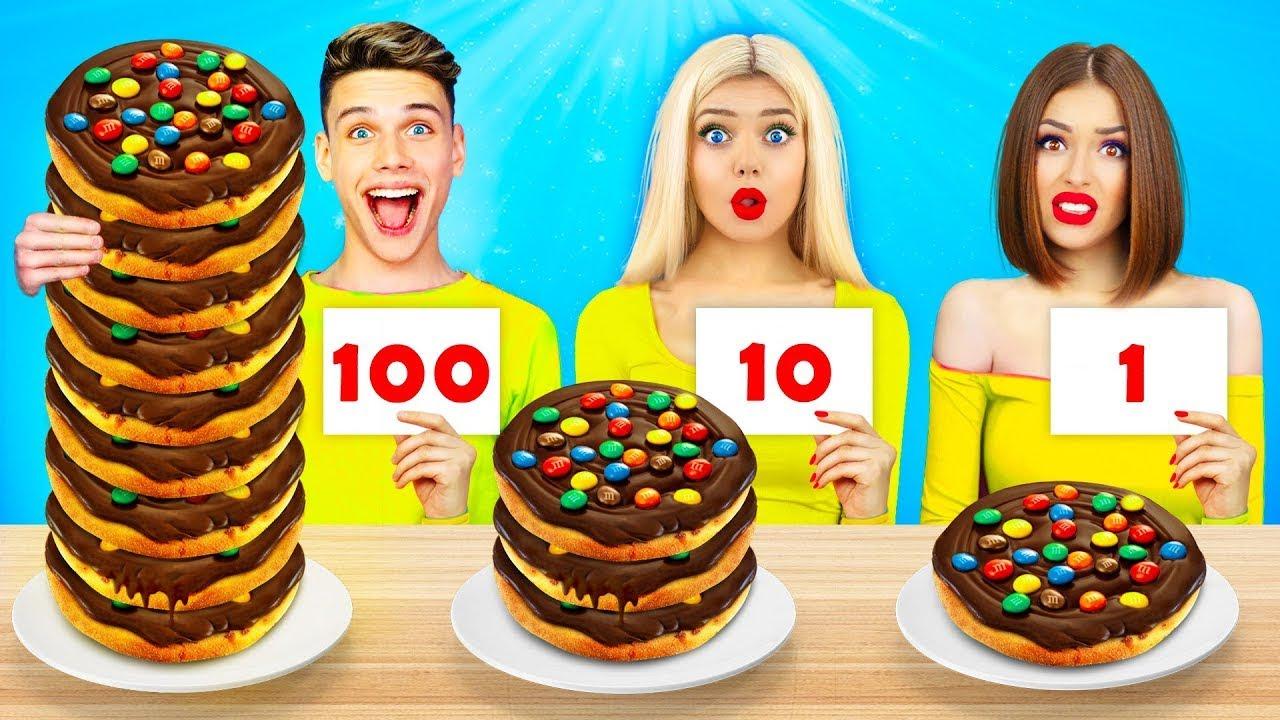 Desafio Alimentar: 100 Camadas de Chocolate | Comer 1 VS 100 Camadas de Delícias! Mukbang por RATATA