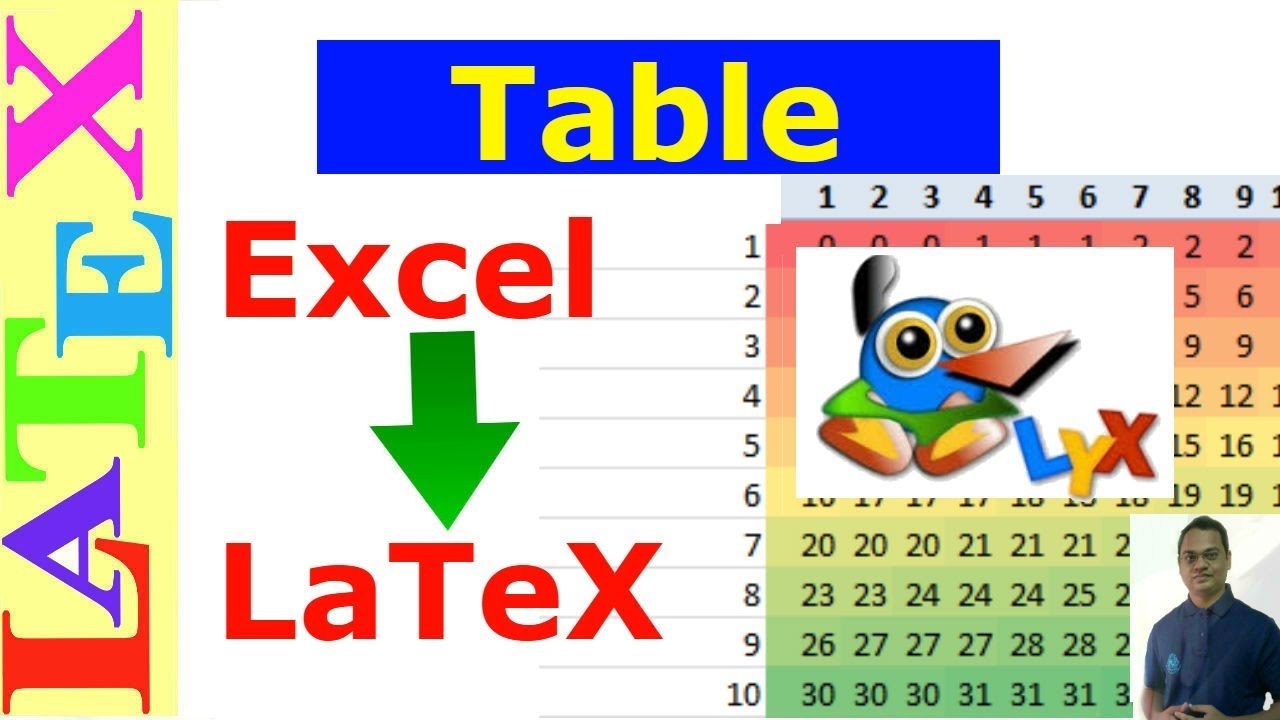 Convert Excel Data to Latex table using LyX (Latex Tutorial, Episode-10)