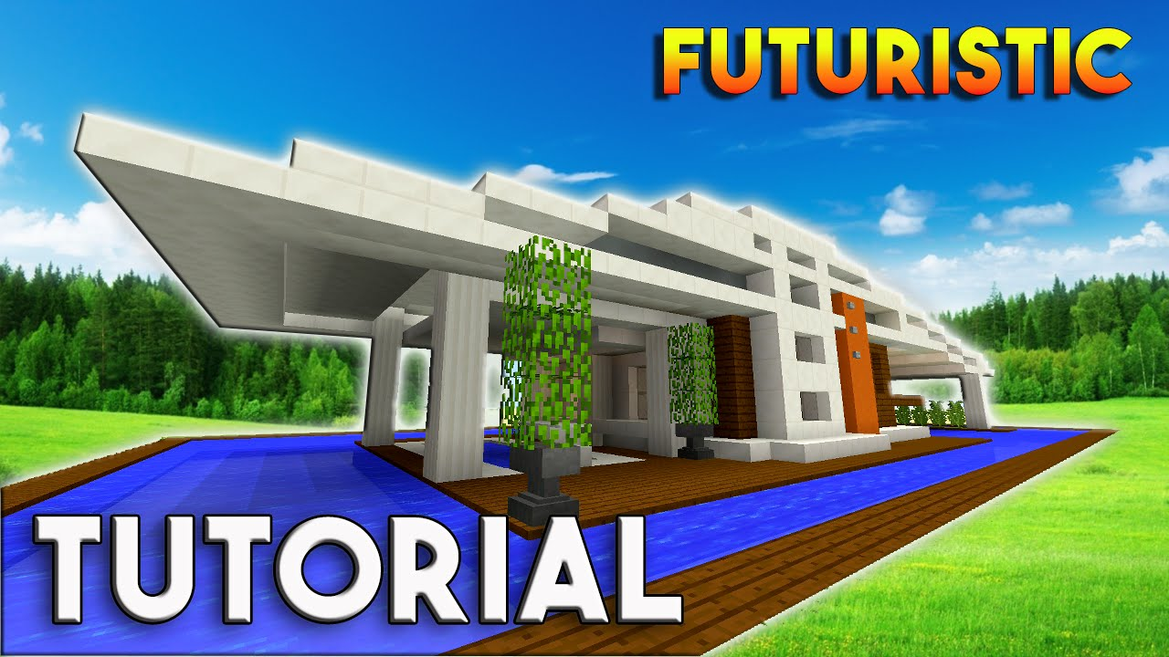 Futuristic House Entrancing Minecraft How To Build A Modern House  Futuristic Modern House Review
