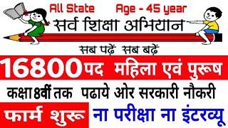 सर्व शिक्षा अभियान भर्ती 2019 // बिना B.ed भर्ती // Apply Online //Sarva Siksha Abiyaan Bharti 2019