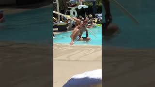 Drunk guy makes a fool of himself at the pool
