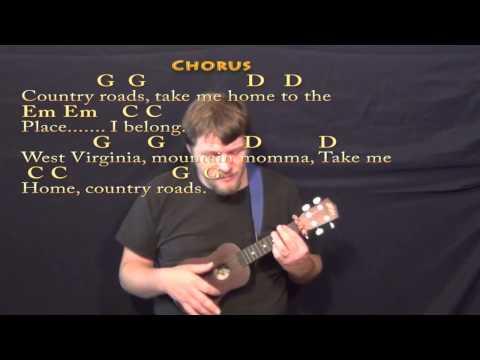 Country Roads - Ukulele Cover Lesson with Chords/Lyrics