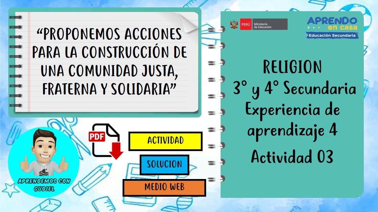 EXPERIENCIA DE APRENDIZAJE 4 ACTIVIDAD 03 DE RELIGION 3° Y 4° SECUNDARIA WEB - download from YouTube for free