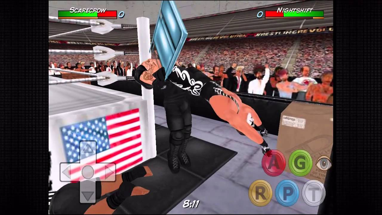 Wrestling revolution 3d scarecrow vs nightshift iron man match