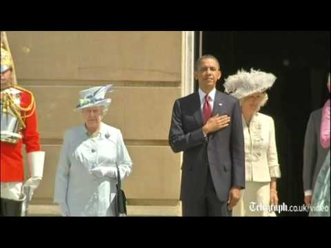 Queen greets Barack and Michelle Obama with 41-gun salute on first day of state visit to UK