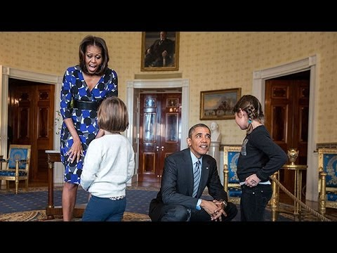 The President & The First Lady Surprise Visitors on White House Tours