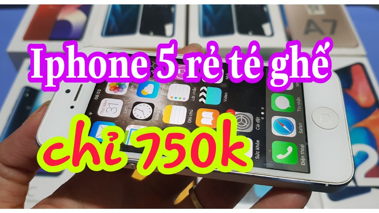 Điện thoại cảm ứng cũ giá rẻ. Iphone 5 giá 750k. Lh 0355.356356