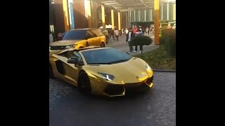 How They Roll In Dubai [Gold Lamborghini & Range Rover]