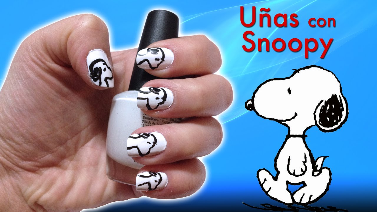 u snoopy nails with snoopy